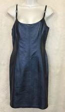 Escada Dress Blue Metallic Leather Spaghetti Straps Fitted NWT $1675 Size 6