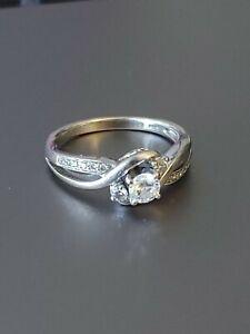 Three-Stone Engagement Ring 3/8 ct tw Diamonds 14K White Gold