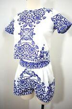 Vtg 70s ? ~ Blue & White Exotic Print Shorts & Crop Top ~ Tiki / GoGo Mod ~ Xs S