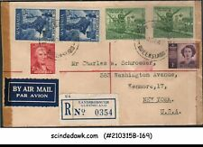 AUSTRALIA - 1947 REGISTERED ENVELOPE TO NEW YORK, USA WITH 6-STAMPS