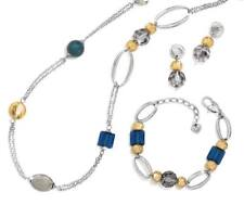 NWT Brighton ANTALYA Silver Gold Blue Necklace Bracelet Earrings Set MSRP $236