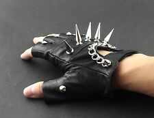 Mens Rivet Spike Punk Rock Driving Motorcycle Biker Leather Fingerless Gloves