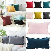 Nordic Luxury Cushion Cover Pom-poms Soft Velvet Pillow Case Pillowcase Decor