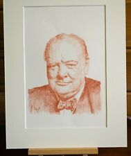 Portrait of Winston Churchill. Matted and signed by the artist Gary Thompson