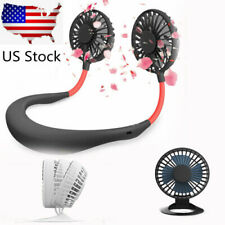 USB Table Fan & Portable USB Rechargeable Neckband Neck Hanging Cooling Fan US