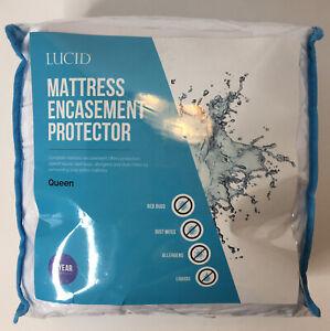 Lucid Mattress Encasement Protector Queen Waterproof Bed Bug Proof NEW