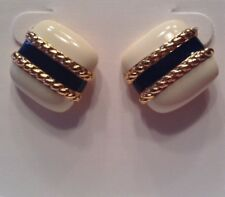Vintage Signed MONET Jewelry Pierced Earrings White, Navy & Gold Plated Nautical