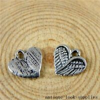 Vintage Silver Alloy Wings Heart Findings Findings Charms Pendants 50x 51026