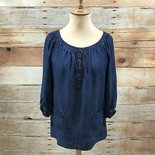 GERARD DAREL bleu jean Slouch Long Top court robe ample taille 40 UK 12 08245