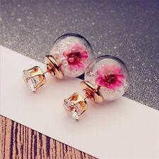 Women Stud Hoop Earrings Rhinestone Double-sided Rose Flower Sweet Girl Jewelry