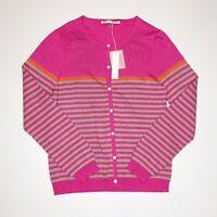 NWT Trina Turk Pink Beige Orange Striped Cardigan Sweater Large $198