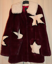 GUESS Faux Fur Star Jacket Red Coat Celebrity Fashion Free People Vintage NYFW