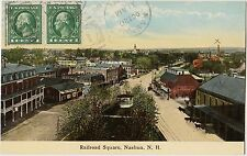 Nashua NH New Hampshire Railroad Square Postcard Ansichtskarte 1913