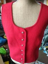 "Vintage Austrian Red Wool Sleeveless Bolero / Waistcoat 40"" Inch Chest"