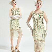 Vintage 1920s Gatsby Cream White Peacock Sequin Fringed Party Flapper Dress