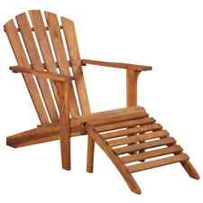 vidaXL Solid Acacia Wood Garden Adirondack Chair with Footrest Outdoor Seat