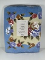 Vintage 3pc Bathroom Rug Set Blue Flowers Polyester Latex NIP Mat Contour Lid