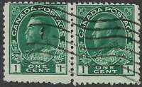 Scott 104viii - 1c Green King George V Admiral Hairlines in jump spacing pair, F