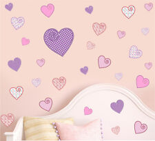 Pretty Patterned Hearts-Confezione da 30 Muro ARTE Vinile stampato Adesivi Decalcomania LOVE
