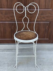 Antique Iron Wire Ice Cream Parlor Chair Vintage Metal Wood White