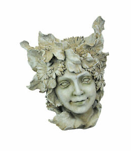 Antiqued White Forest Fairy Head Indoor / Outdoor Planter Pot 15 Inches High