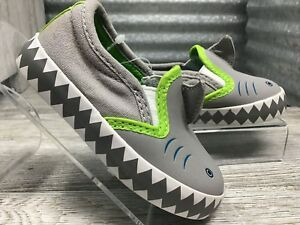Cat & Jack Boys Shark Faux Fur Loafer Grey Green Trim Slip On Teeth On Soles