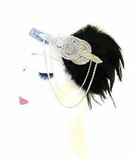 Black Silver Feather Headpiece 1920s Headband Flapper Great Gatsby Vintage 1572