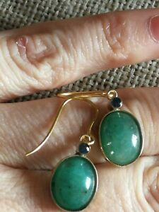 Vtg 8cts Natural Zambian Emerald Ceylon Sapphire solid 9ct gold drop earrings