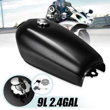 Universal Motorcycle 9L 2.4GAL Fuel Gas Tank +Cap For Honda CG125 Gloss Black US