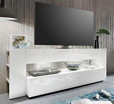 TV Lowboard weiß Hochglanz TV-Tisch Fernsehtisch und HiFi Rack Möbel 185 cm ONYX