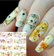 Nail Art Water Decals Transfers Stickers Tips 4 Patterns Cute Cat Cartoon