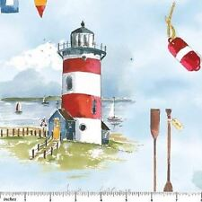 SAIL AWAY SCENIC LIGHTHOUSES FABRIC 1/2 YD