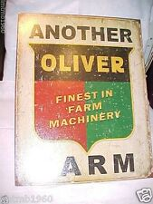 """OLIVER MACHINERY METAL SIGN vintage style RUSTIC LOOKING 12 1/2"""" W X 16"""" T NICE"""