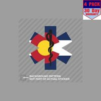 Colorado Emt Flag Ems Paramedic Co 4 Stickers 4x4 Inch Sticker Decal
