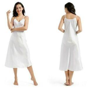 Women Faux Silk Satin Full Slip Dress Midi V Neck Strap Sleepwear Nightie