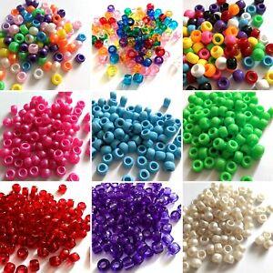 100 pcs acrylic pony beads 8mm x 7mm various colours