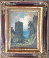 Romantico Castello Dipinto a Olio Figurenstaffage Reno Main Mosel Donau? Telaio