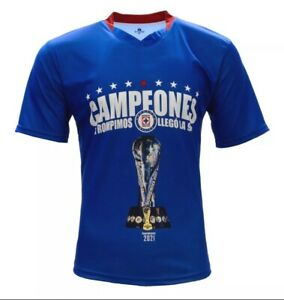 Cruz Azul Liga MX Campeones 2021 Men's Blue/Red Short Sleeve Jersey