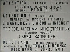 More details for east german/ddr/nva border military liaison multi-lingual warning sign