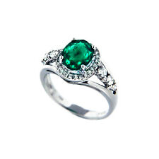 Esmeralda Anillo Serie 750 18 K Oro Blanco Diamantes Brillantes Manufactura 1,66