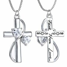 Women Silver Crystal Faith Hope Love Cross Pendant Necklace Valentine's Day Gift