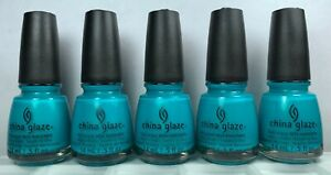5 China Glaze Nail Polish TURNED UP TURQUOISE 1007 #70345 Summer Neon Lacquer