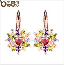 Bamoer Luxury 18K Plated Gold Flower Stud Earrings with Zircon Stone For Ladies