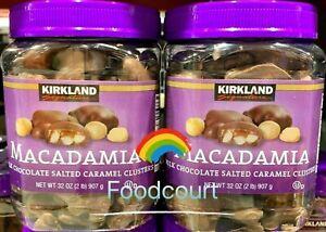 2 Packs Kirkland Macadamia Clusters Salted Caramel Milk Chocolate 32 oz Each