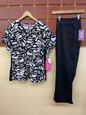 New Black Print Scrubs Set With Koi 2Xl Top & Healing Hands 2Xl Petite Pants Nwt