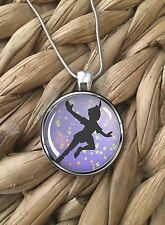 Peter Pan Disney World Magic Glass Pendant Silver Chain Necklace NEW