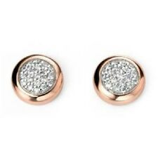 9CT ROSE GOLD PLATED SOLID 925 ITALIAN SILVER PAVE SET 8MM ROUND STUD EARRINGS