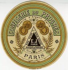"""""""CONFISERIE DU PROGRES E.J. PARIS"""" Etiquette-chromo originale fin 1800"""