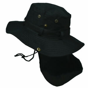 Unisex Bucket Boonie Hat Neck Cover Flap Sun Wide Brim Fishing Solid Outdoor Cap