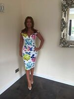 Multi Floral Pencil Evening Bodycon Bardot Party Midi Dress BNWT Sizes 8-18 £65